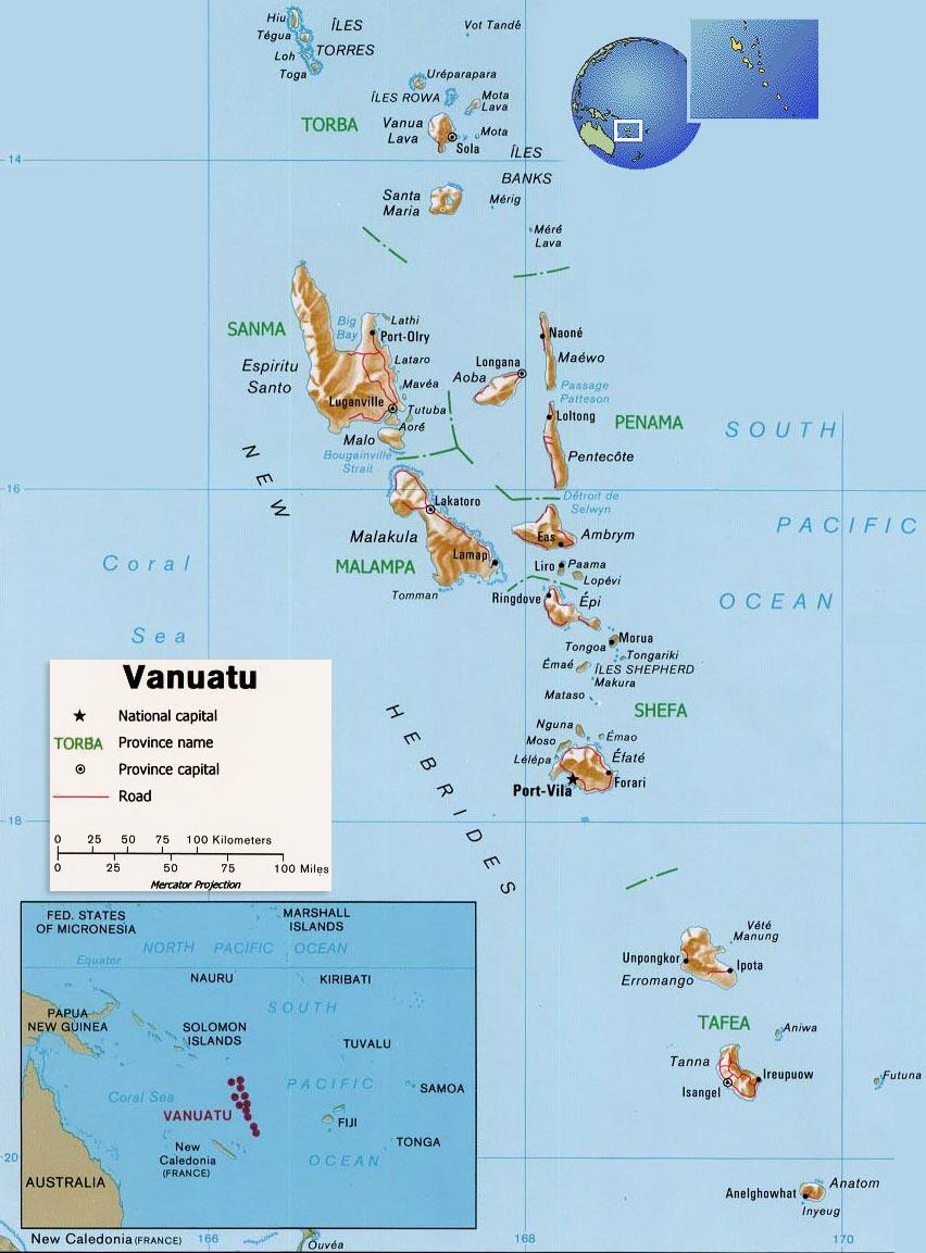 Map Vanuatu, Port Vila - Efate