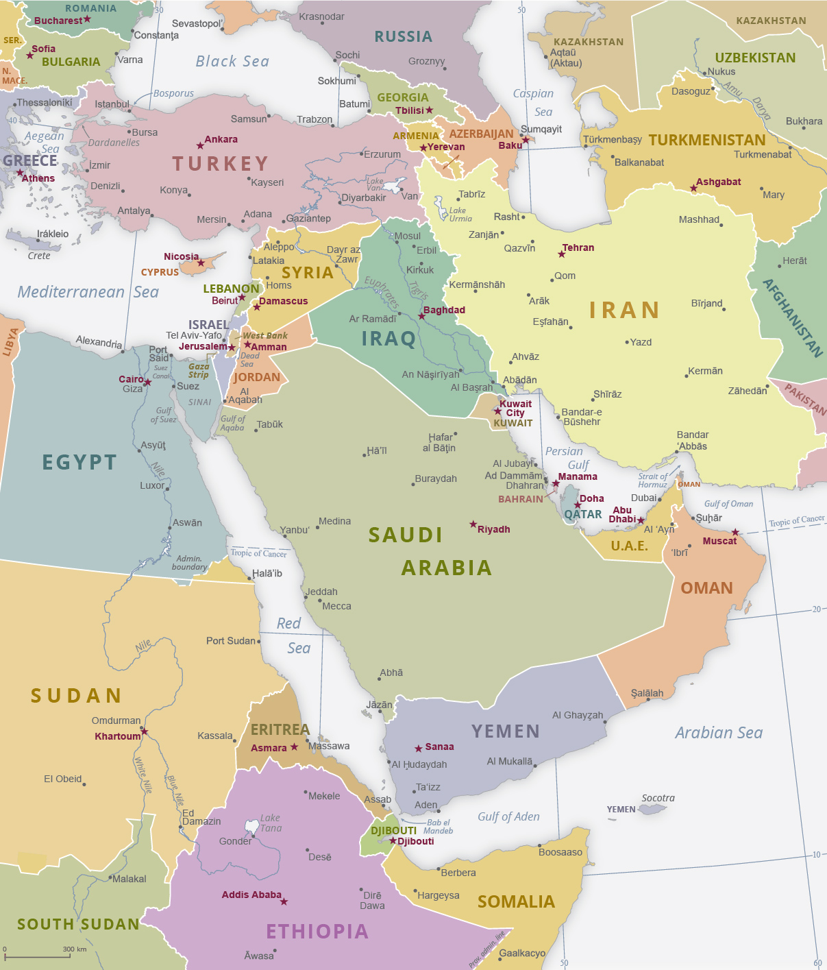 Middle East Map With Rivers And Mountains Middle East Map