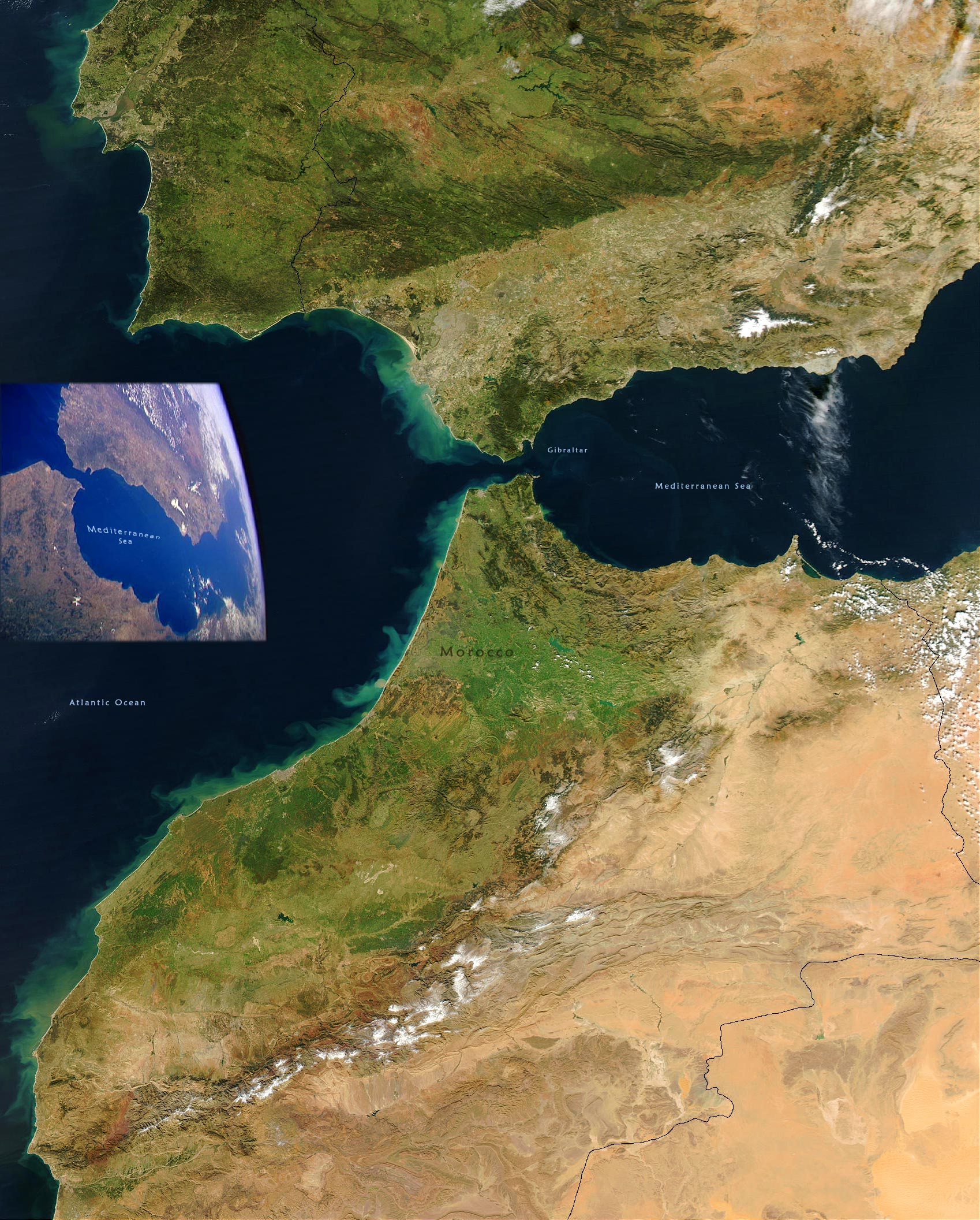 Map Of Spain Gibraltar And Morocco.Strait Of Gibraltar Spain Morocco Image