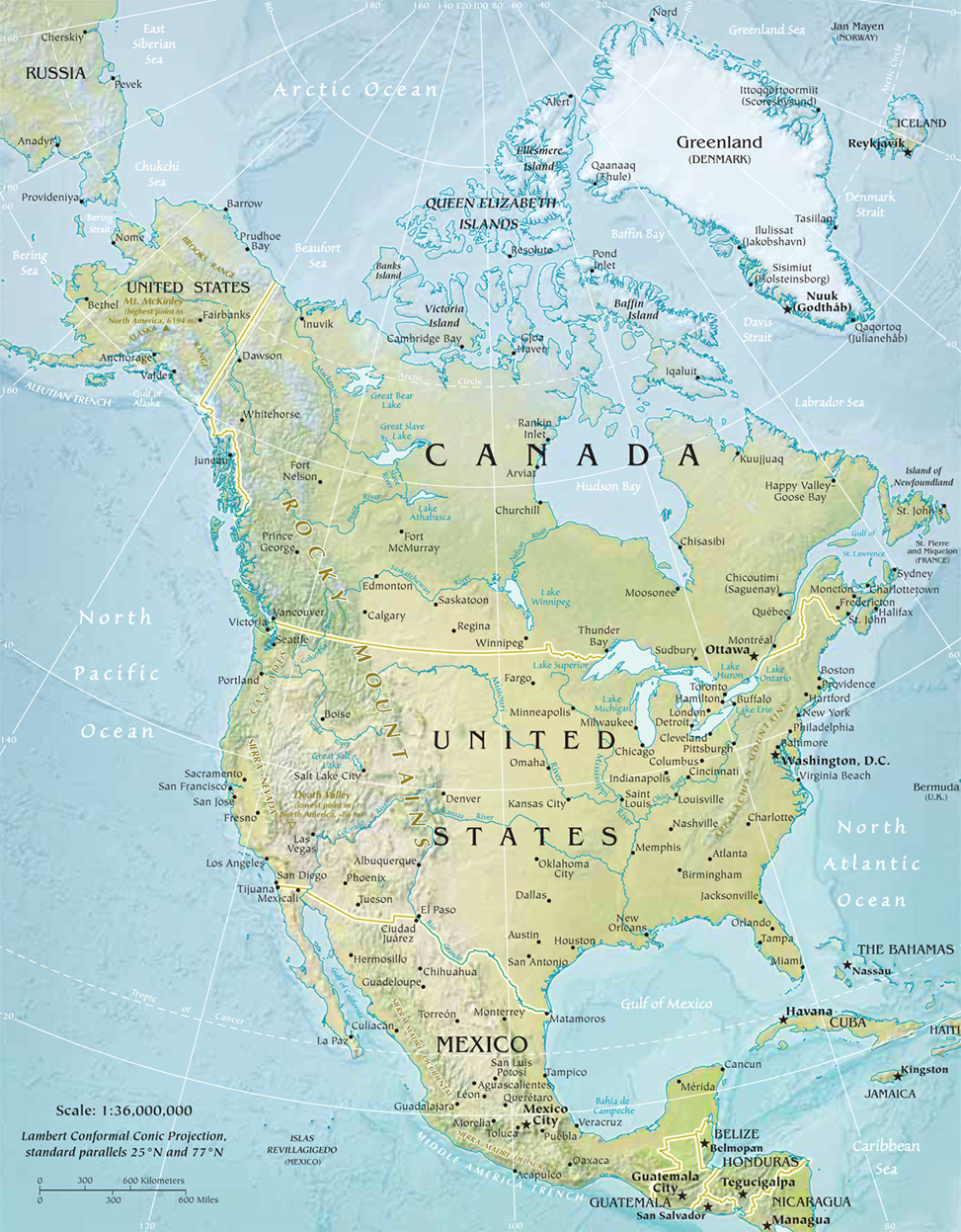 North America Physical Map - Physical features map of canada