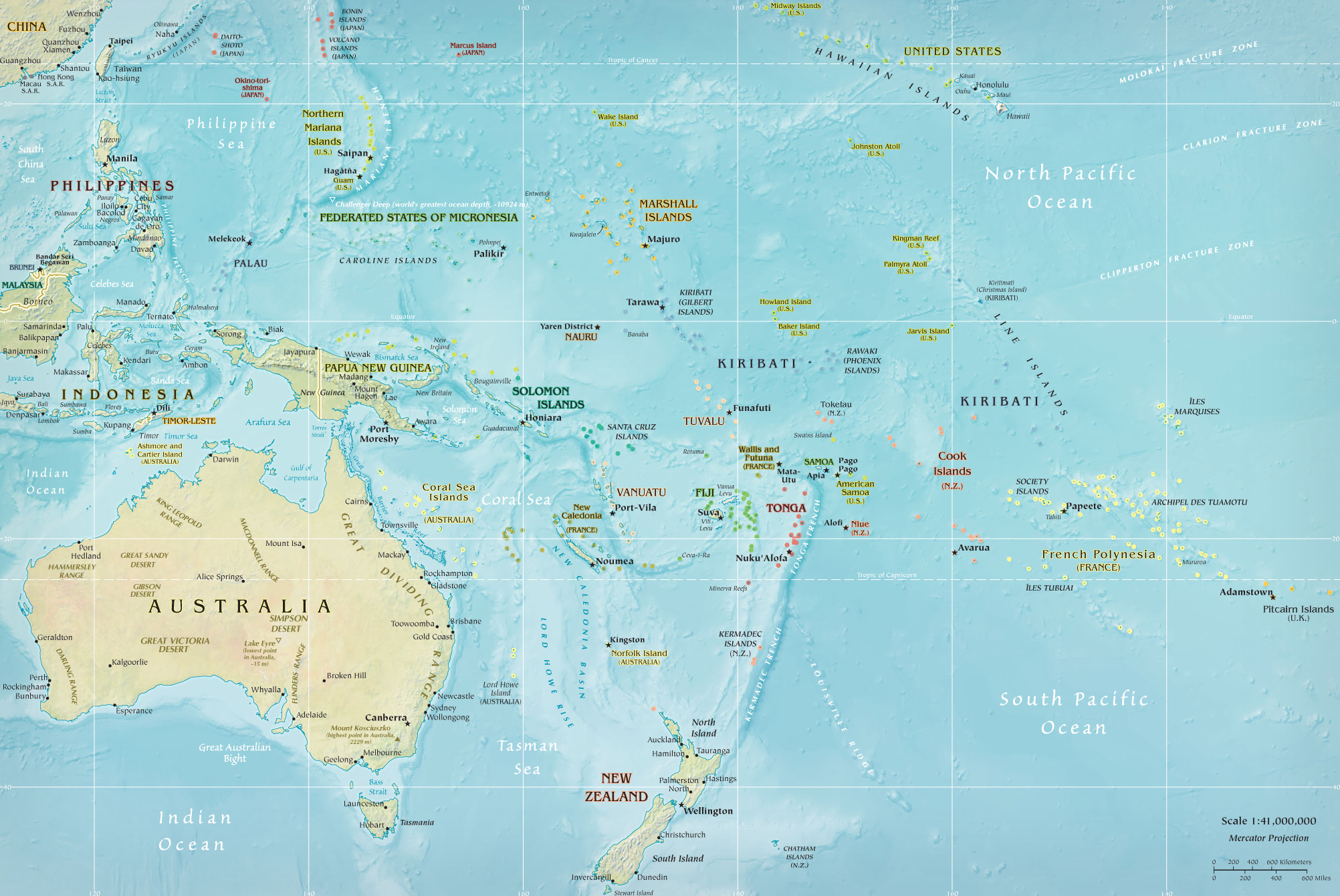 Map of oceania pacific islands french polynesia mercator world australasia oceania map gumiabroncs Image collections