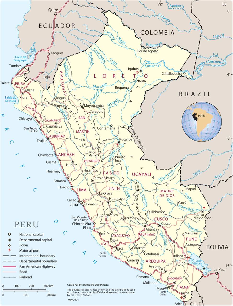 Map of Peru Lima Machu Picchu