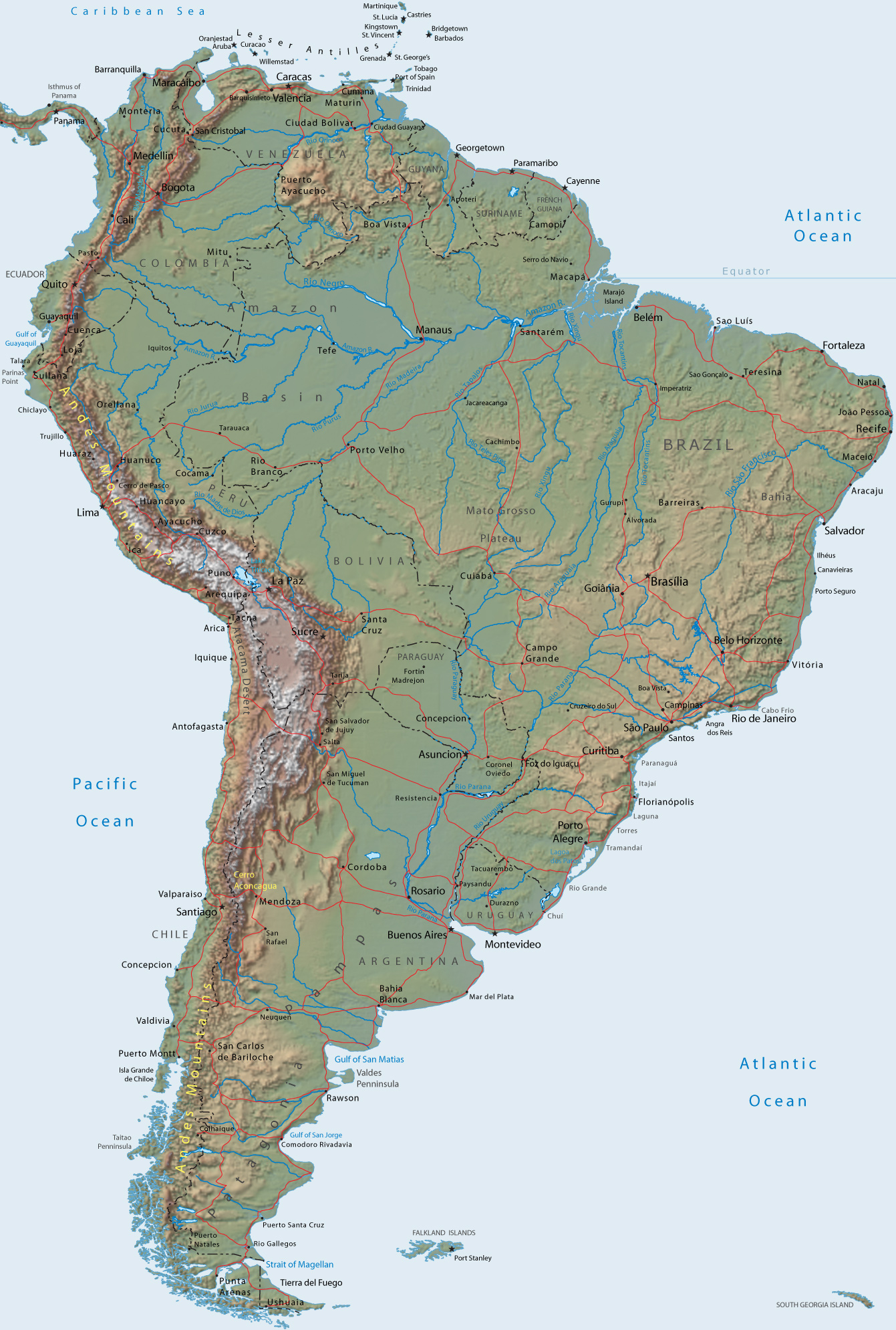 graphic relating to Printable South American Map named Map of South The us