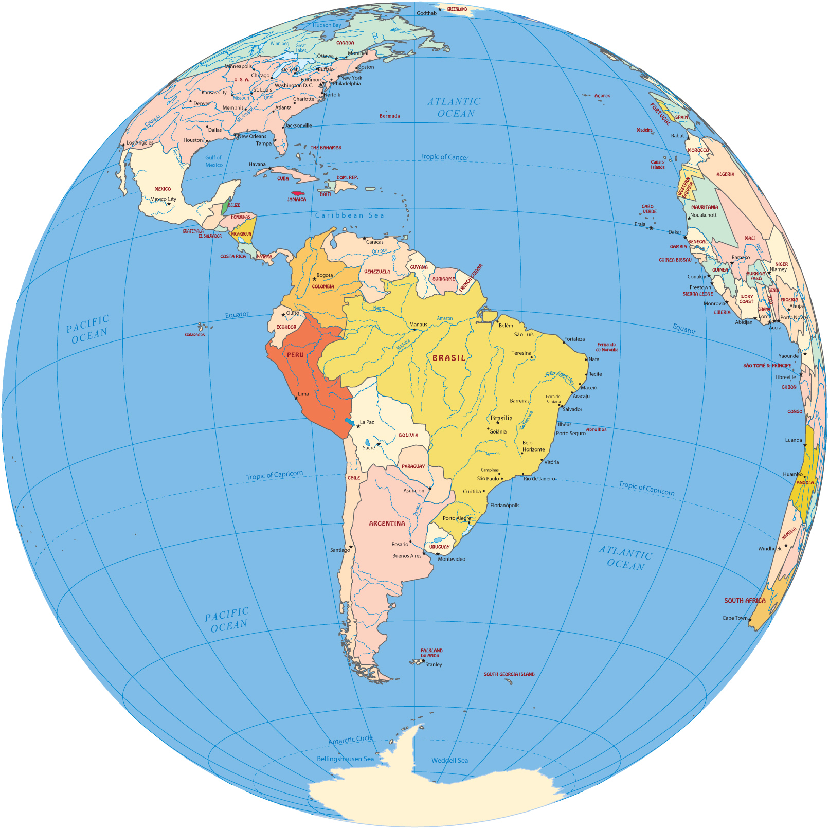 South America Map Globe - Map of the globe with countries