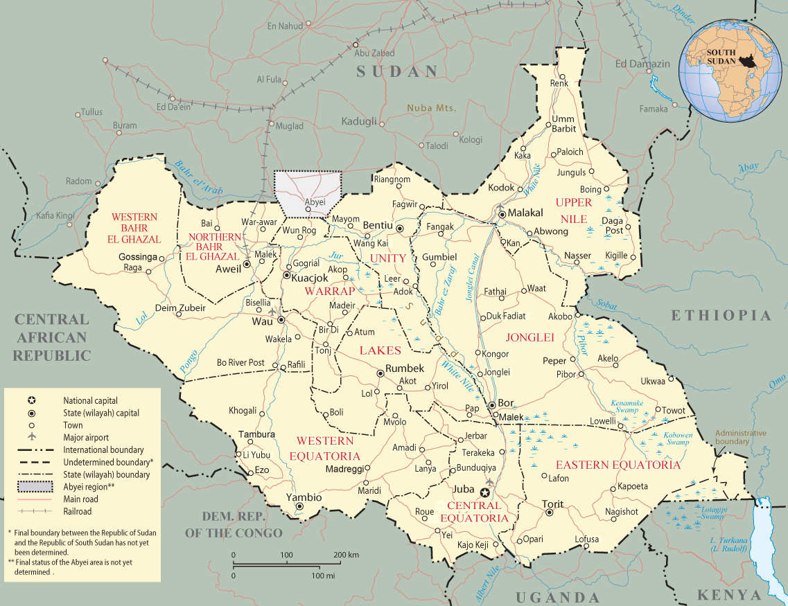 Africa Map With South Sudan.Map Of South Sudan Africa
