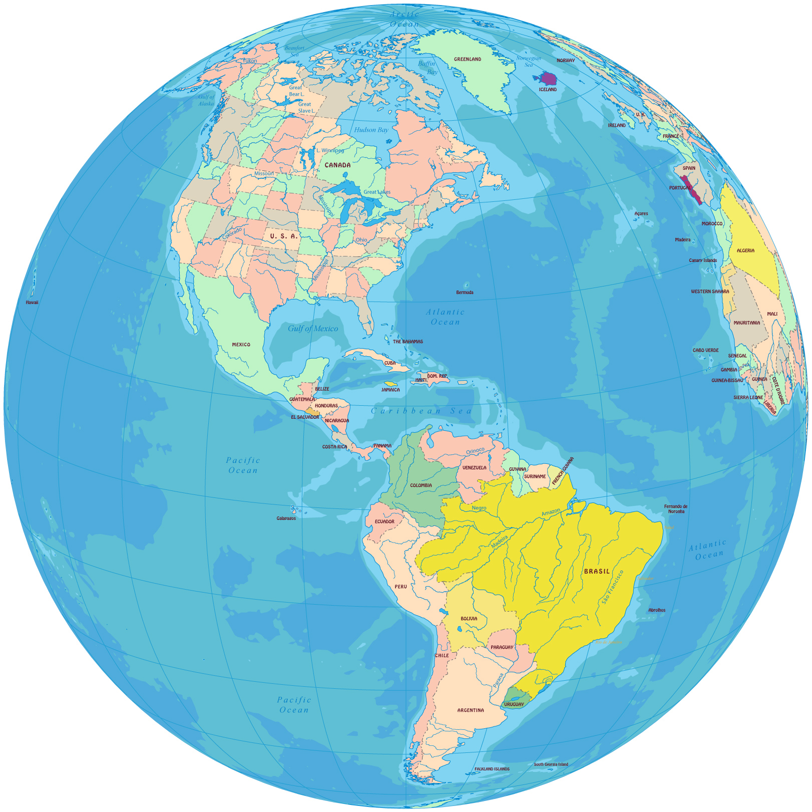 North America Map - Map of canada usa and south america