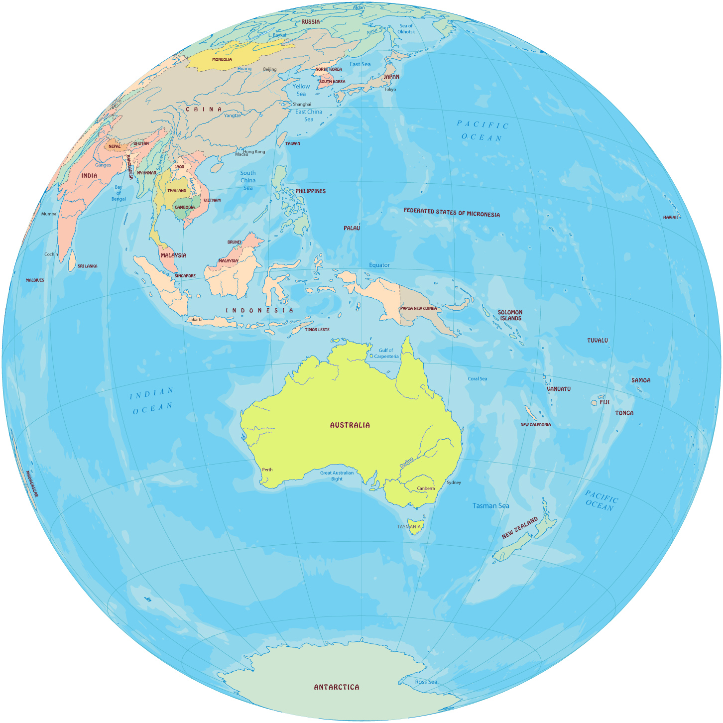 Australia Map Equator.Pacific Islands Maps Australia New Zealand