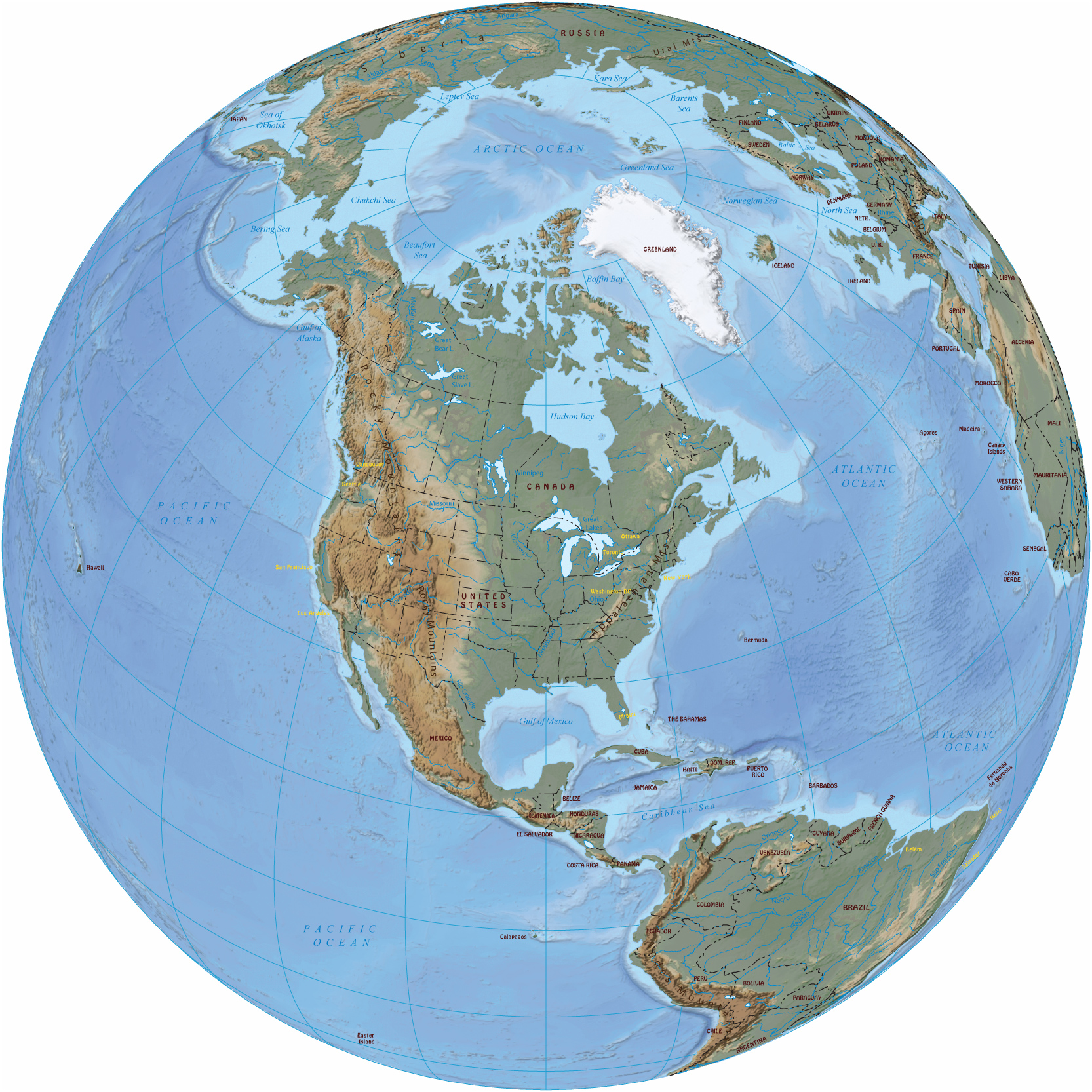 North America In The Globe United States Canada Bahamas