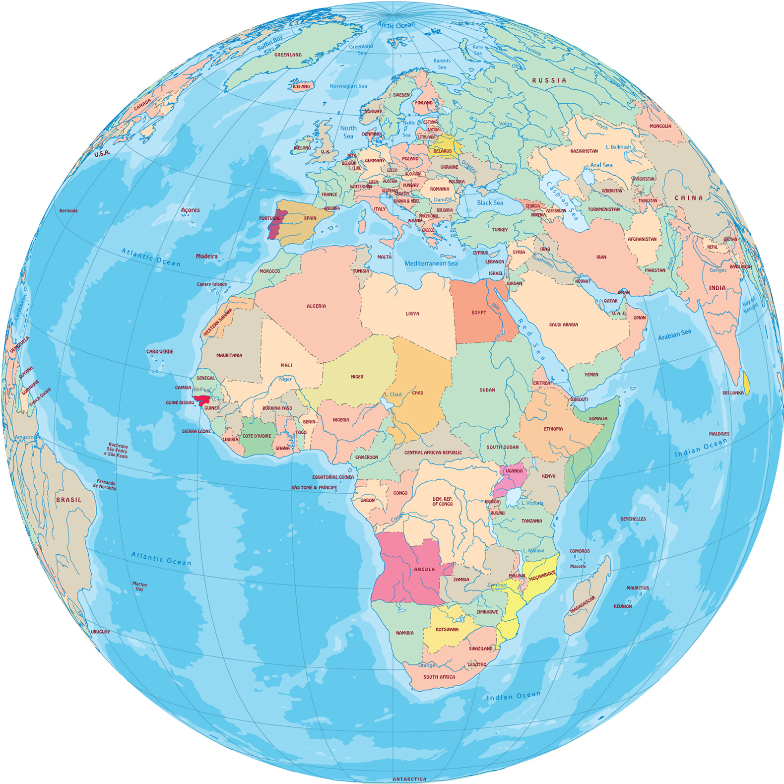Africa   Globe with Countries