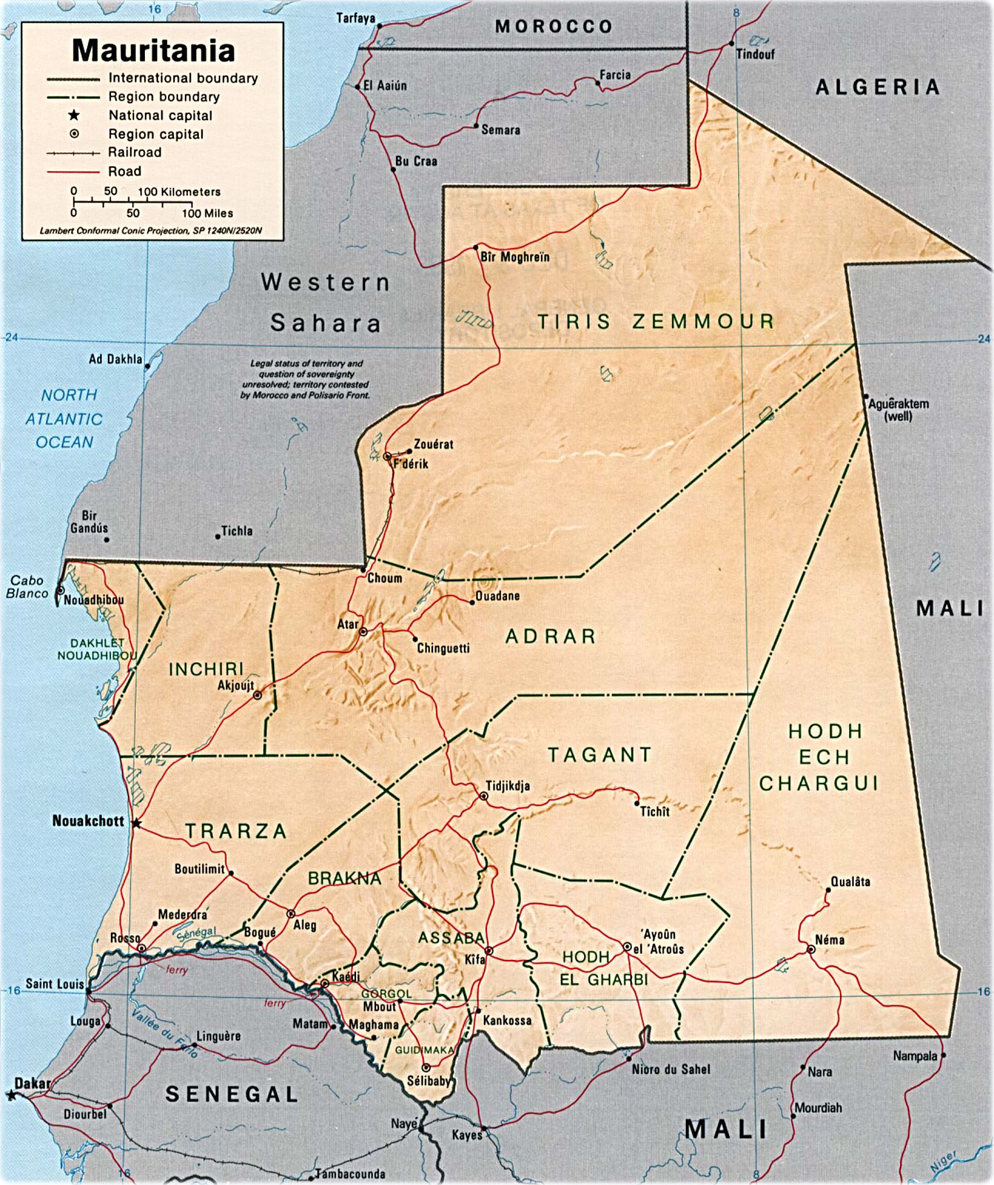 Map Of Mauritania Nouakchott Sahara Desert Travel Africa