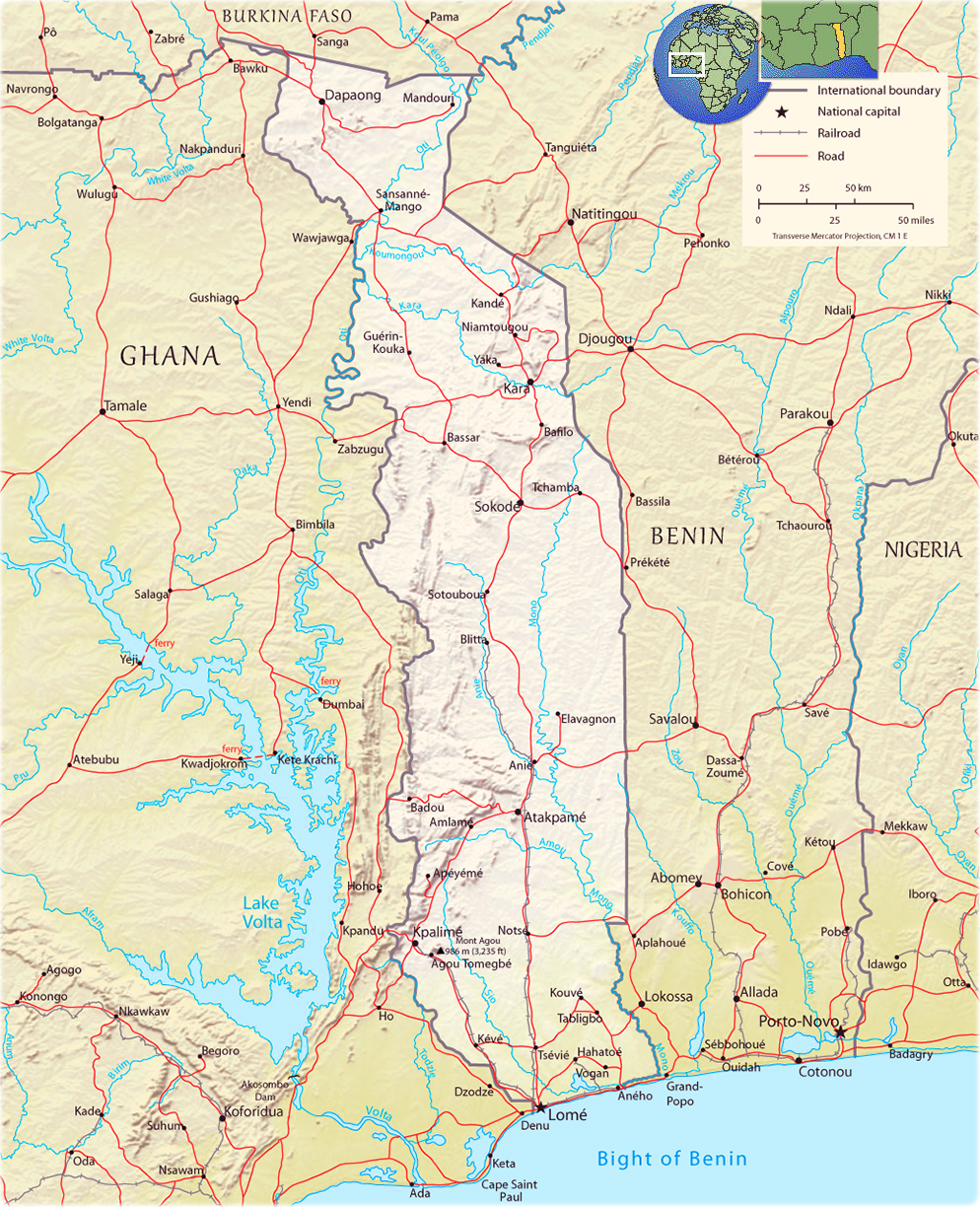 Map of Togo - Travel Africa Togo Map on