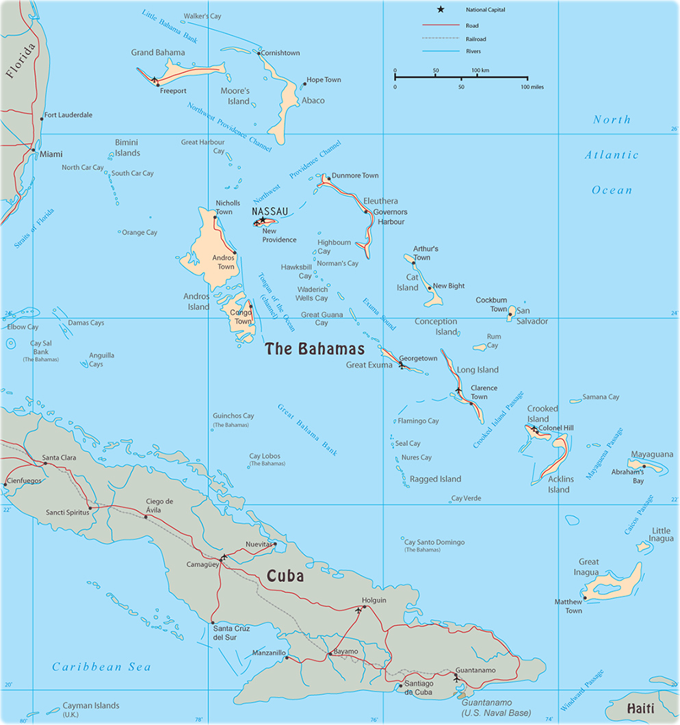 Bahamas On Map Map of The Bahamas