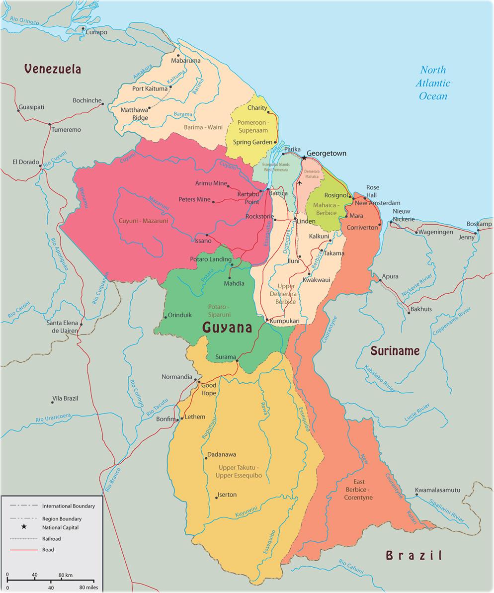 Map Of Guyana Political Map of Guyana Map Of Guyana