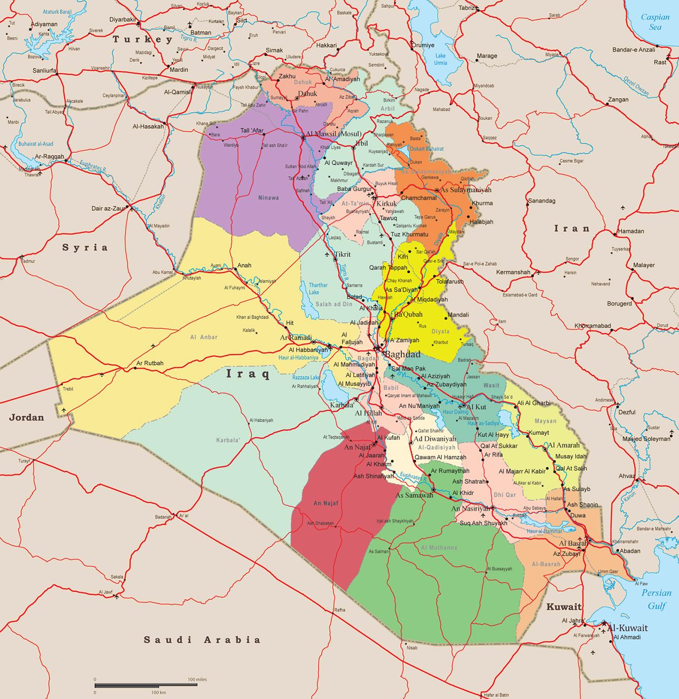 Iraq Map, Baghdad - Asia