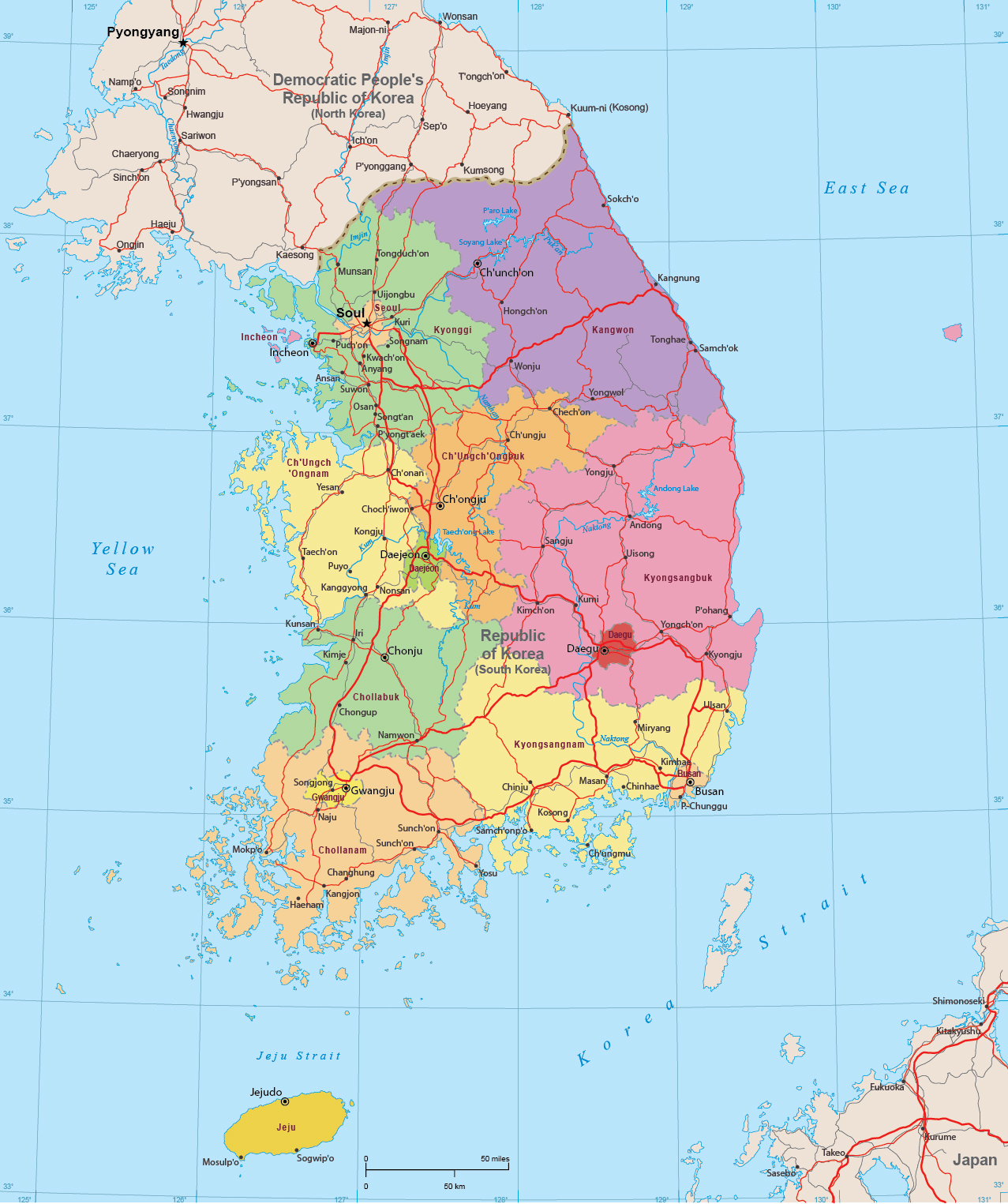 South Korea Map Seoul Asia