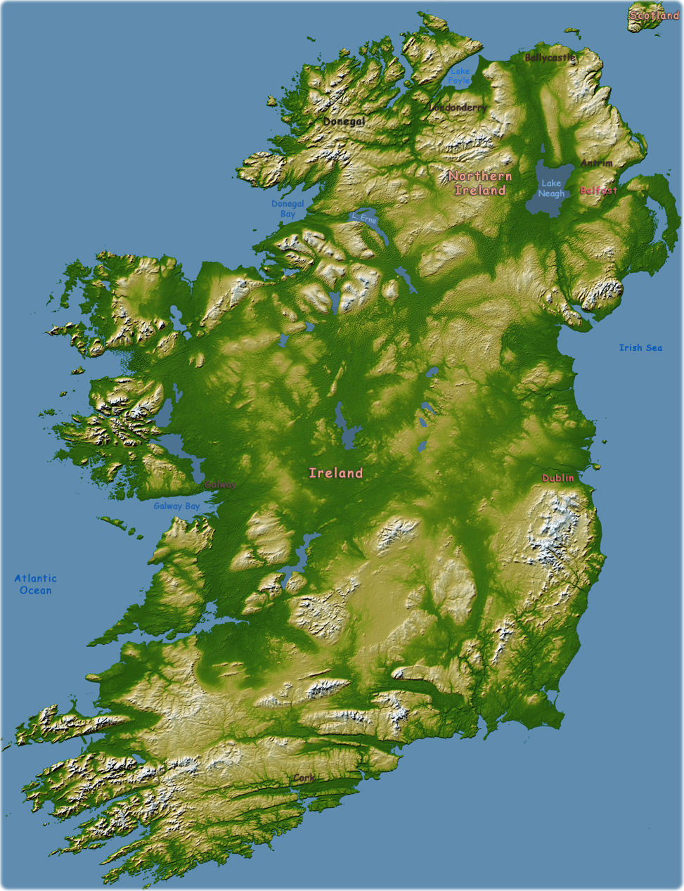 Map Of Ireland Lakes.Map Ireland Travel Europe