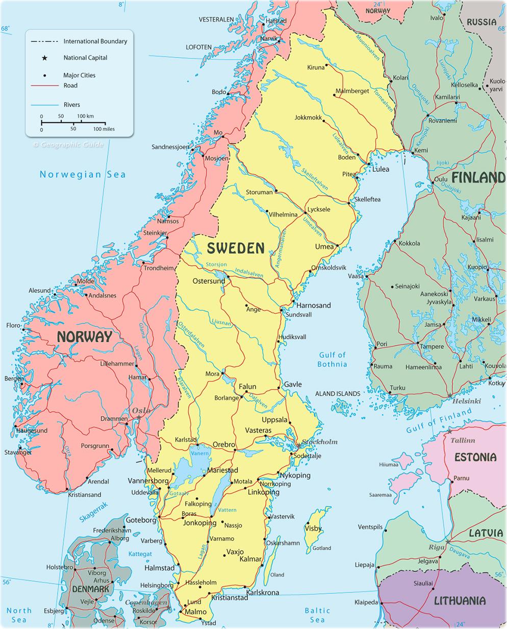 Sweden On A Map Map Sweden   Travel Europe