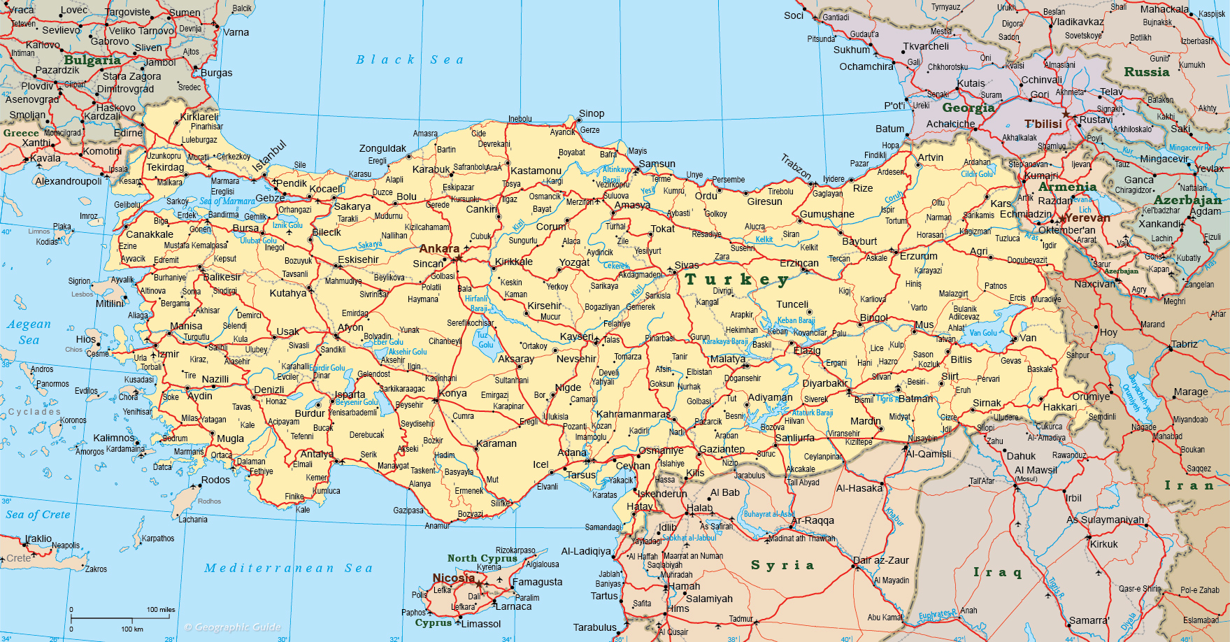 Map Turkey Travel Europe