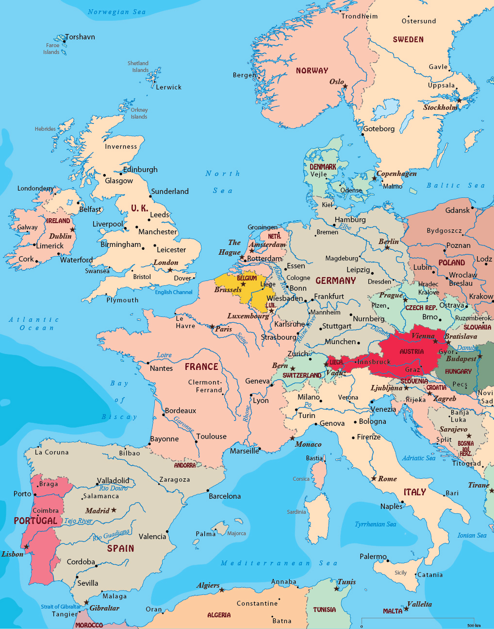 West Europe Map Map West Europe