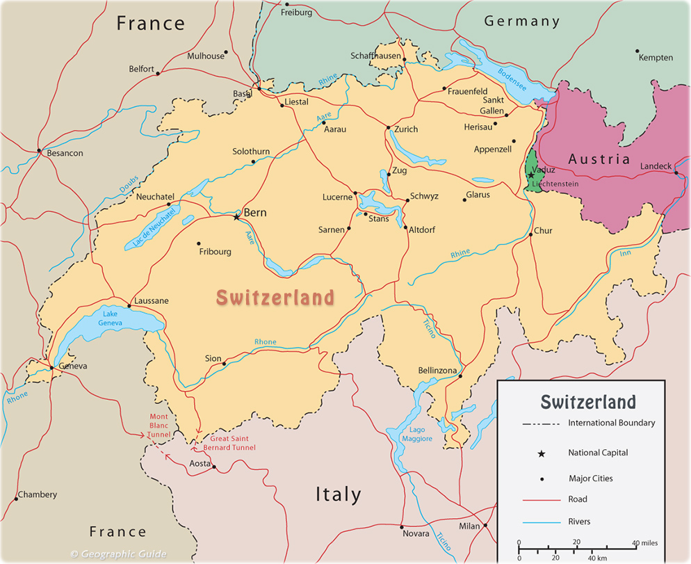 Switzerland On A Map Map Switzerland   Travel Europe