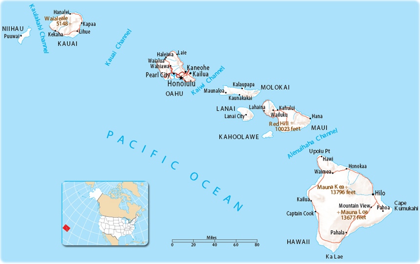 Map Of Us And Hawaiian Islands Map of Hawaii   USA