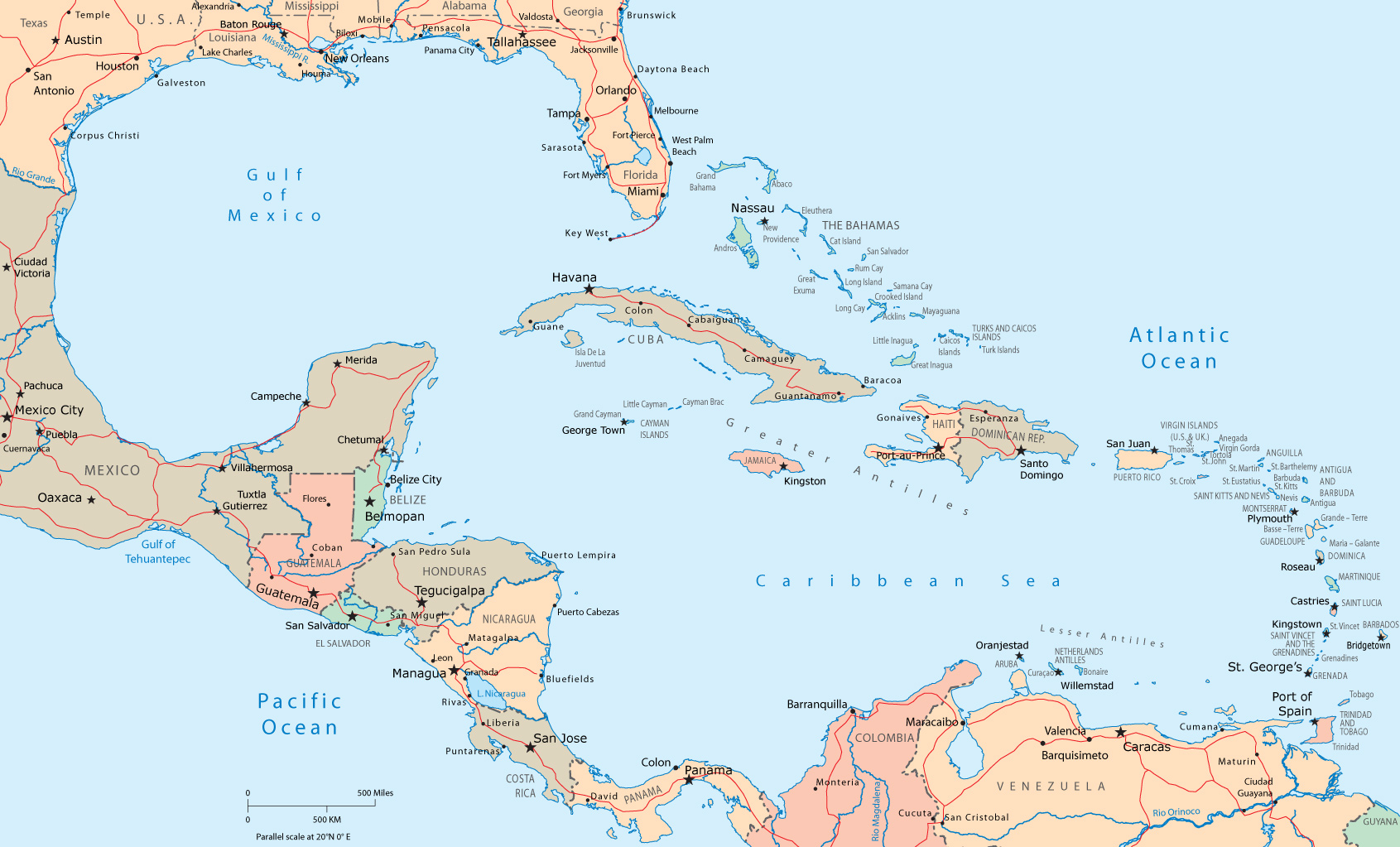 Map Of Central America Map of Central America and The Caribbean Map Of Central America