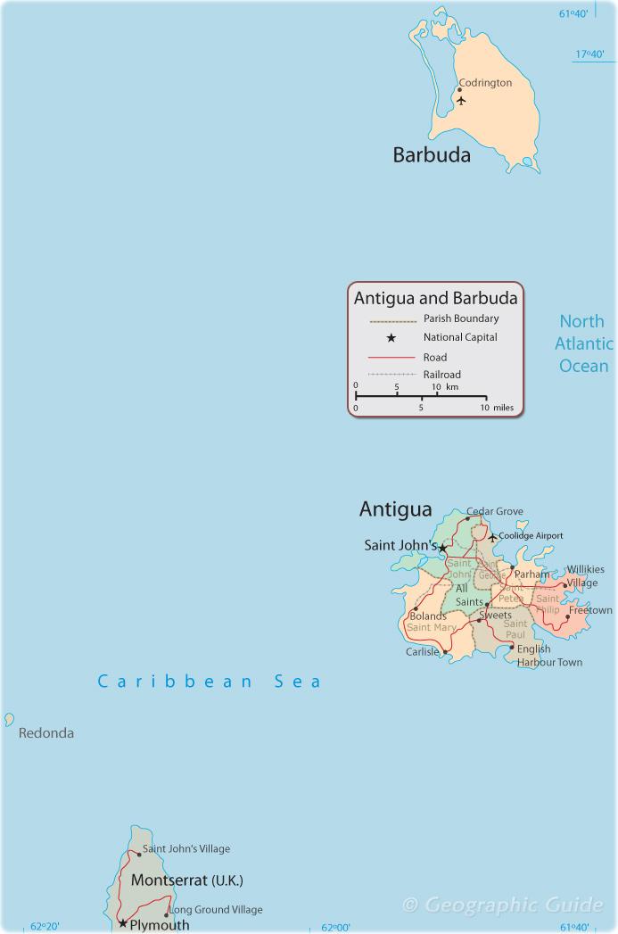 Map of Antigua, Barbuda
