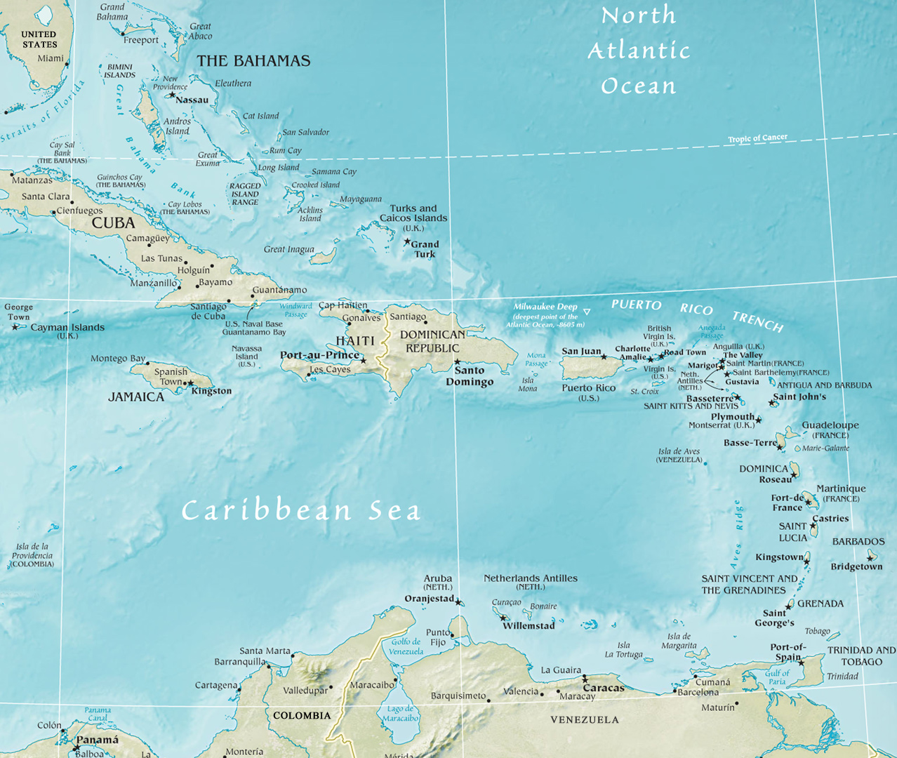 A Map Of The Caribbean Map of The Caribbean Region