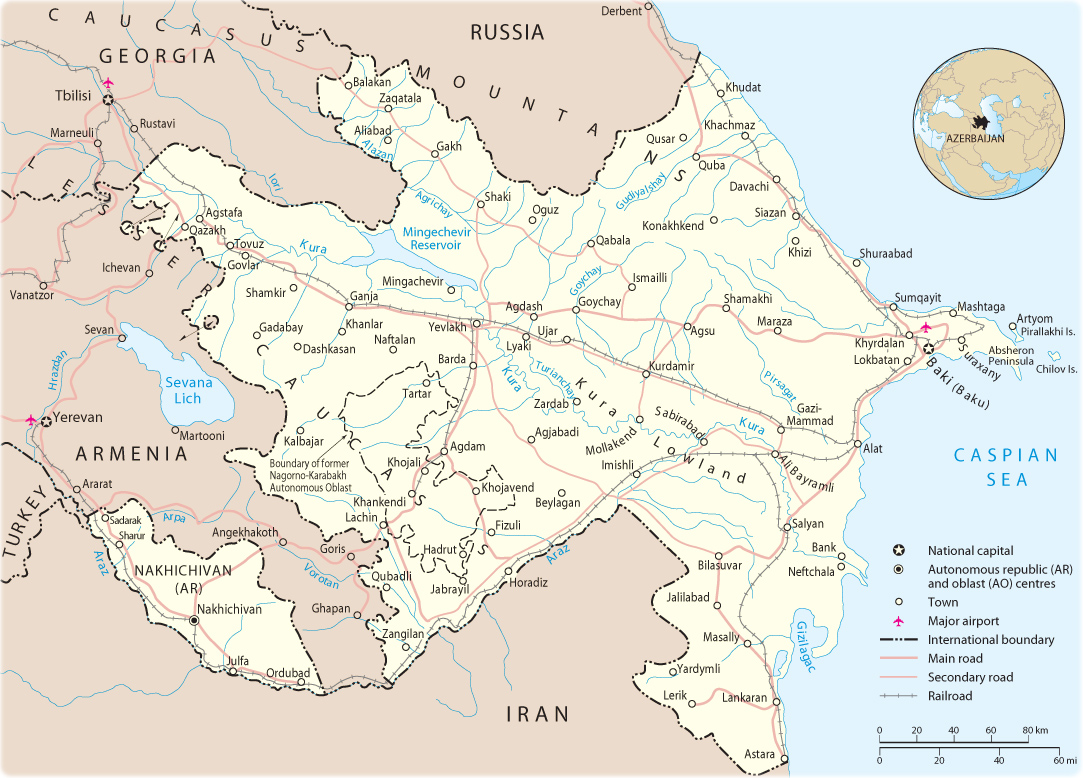 Picture of: Map Of Azerbaijan Asia
