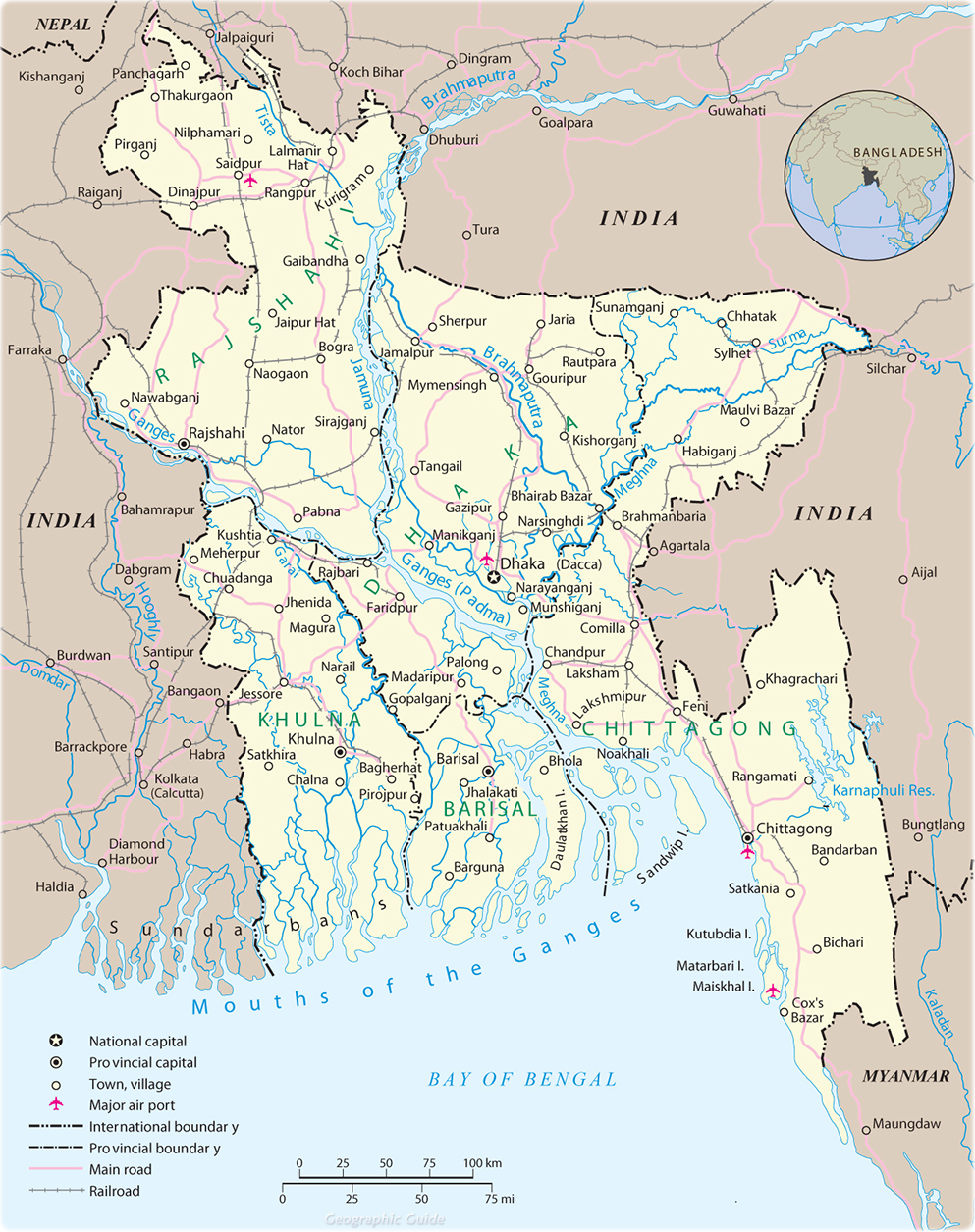 desh Map, Dhaka - Asia Dhaka Map on