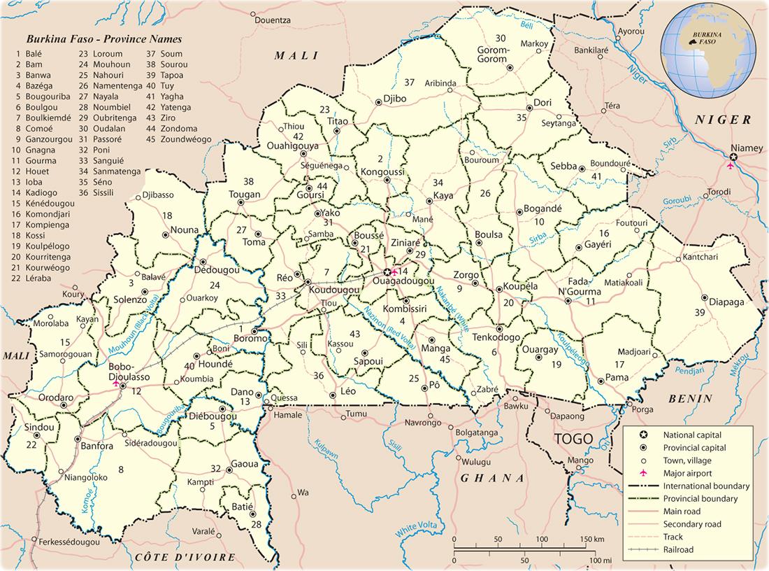 Map Of Burkina Faso Map of Burkina Faso   Travel Africa Map Of Burkina Faso
