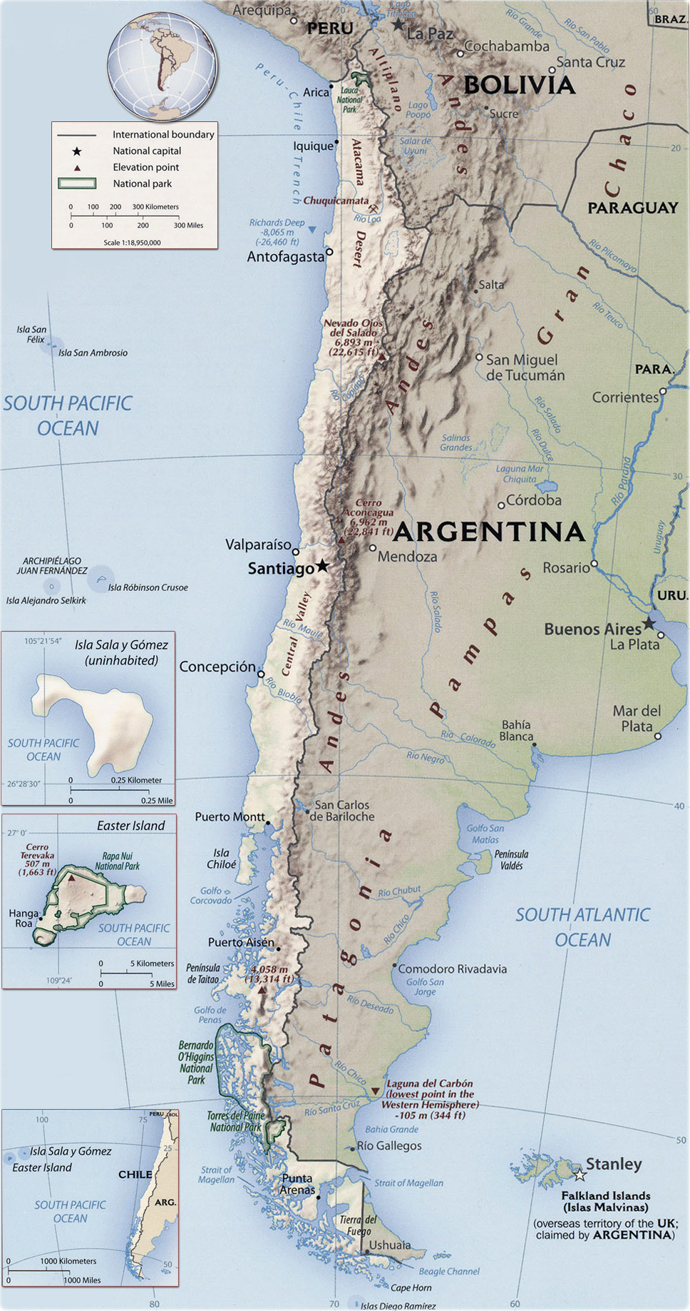 Chile Map, Santiago, Easter Island