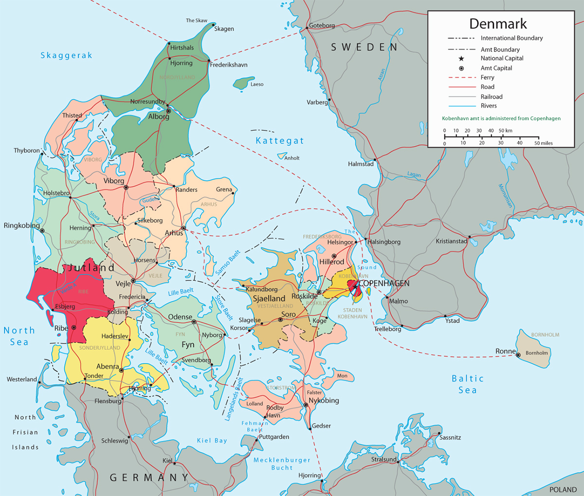 Map Of Denmark In Europe Political Map Denmark   Travel Europe