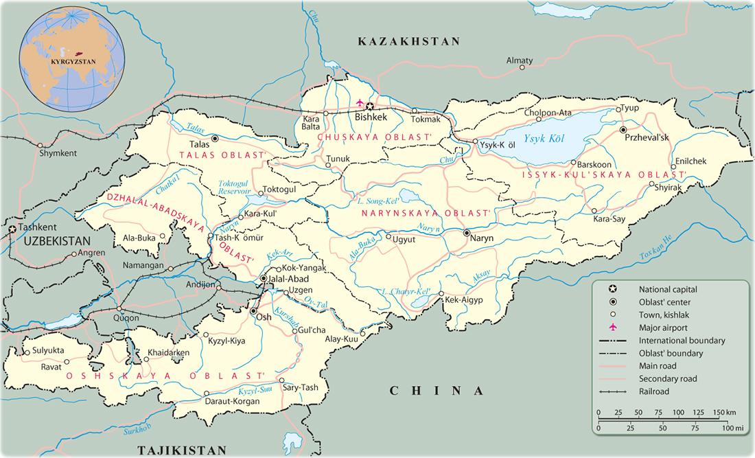 Map Of Asia Kyrgyzstan.Kyrgyzstan Map Bishkek Asia
