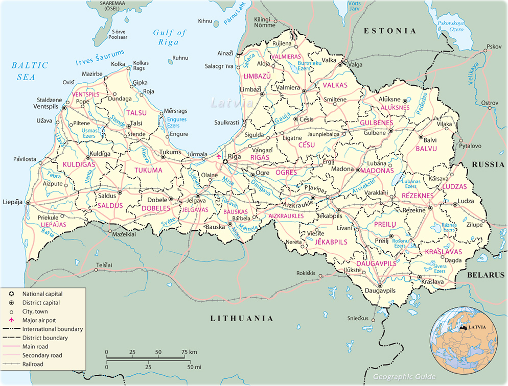 Map Latvia Travel Europe