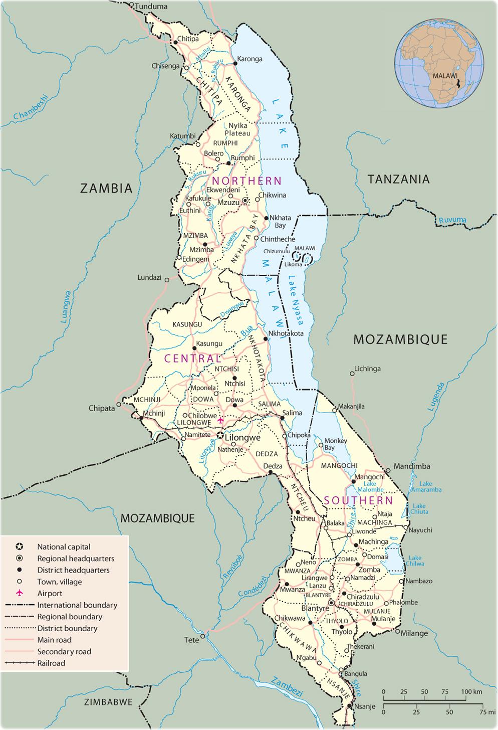 Map of Malawi   Lilongwe   Travel Africa