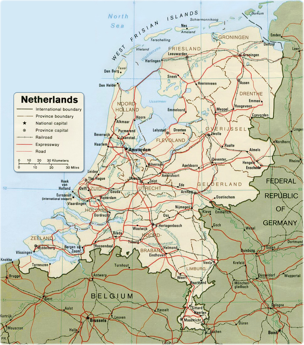 Map Netherlands Travel Europe