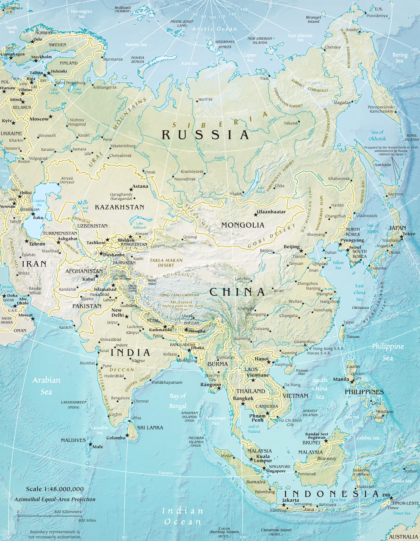Image of: Physical Map Asia