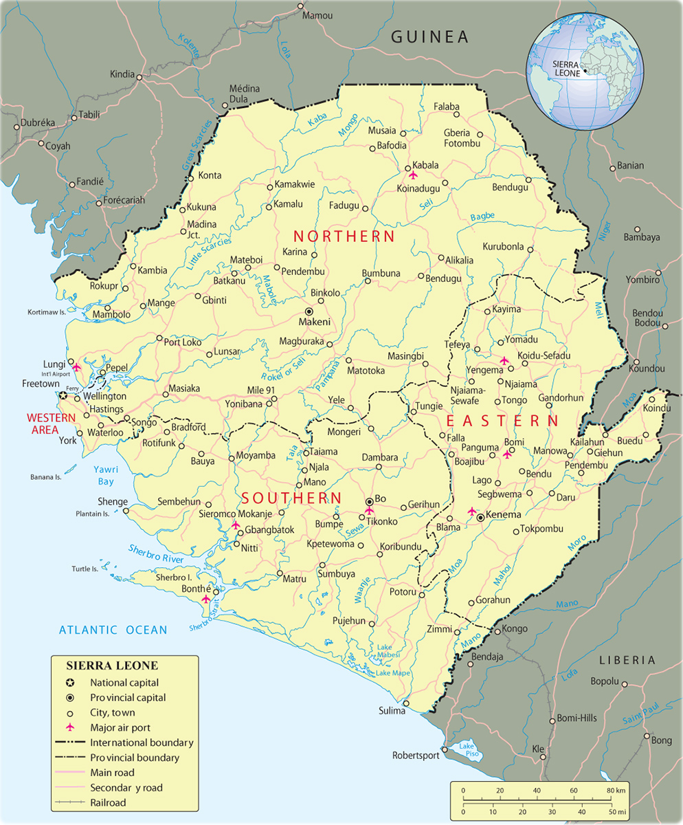 Map of Sierra Leone, Freetown   Travel Africa