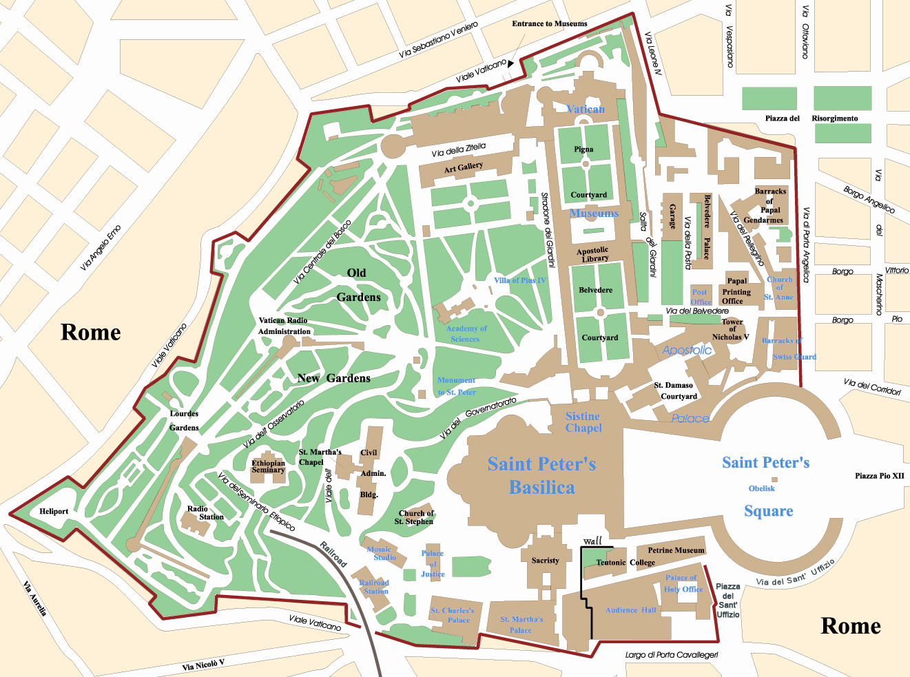 Map Of Vatican City Vatican City Map   Travel Europe
