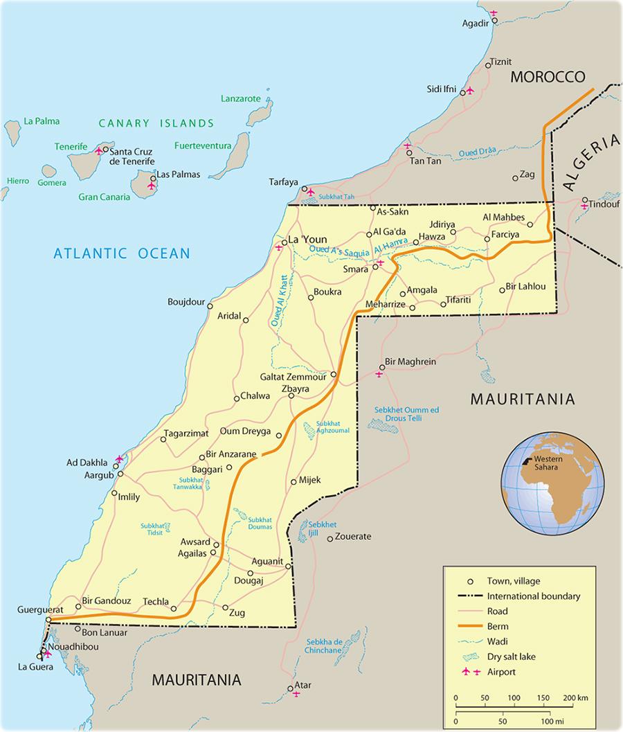 Image of: Map Of Western Sahara Travel Africa