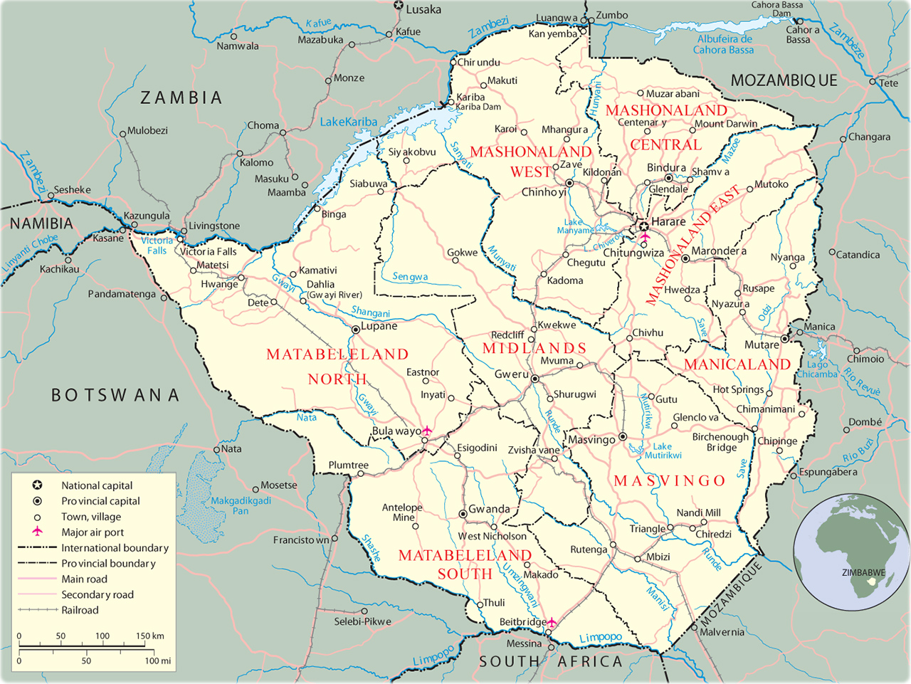 Map Of Africa Showing Zimbabwe.Map Of Zimbabwe Harare Travel Africa