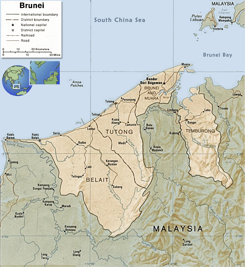 Image of: Brunei Map Bandar Seri Begawan Asia