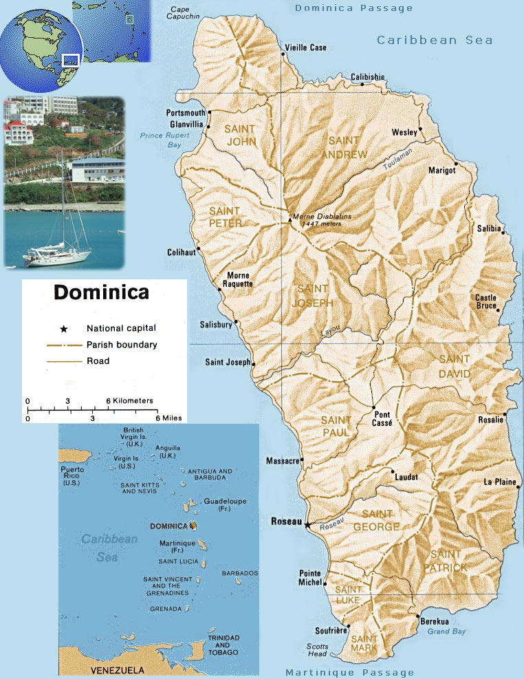Map of Dominica - Portsmouth Domenica Map on