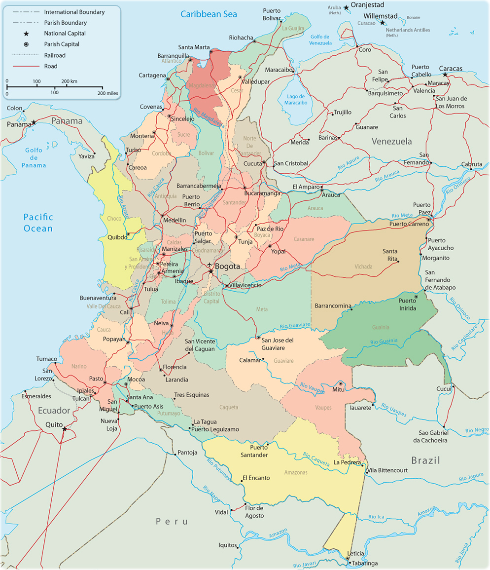 Map of Colombia, Bogota