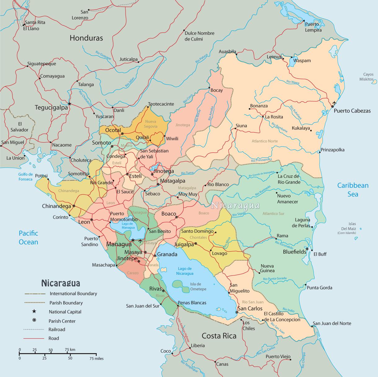 Map of Nicaragua, Managua