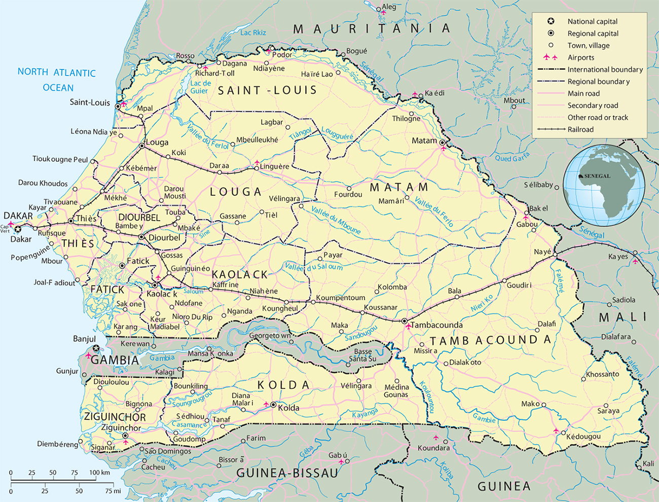 senegal mapa Map of Senegal   Dakar   Travel Africa senegal mapa