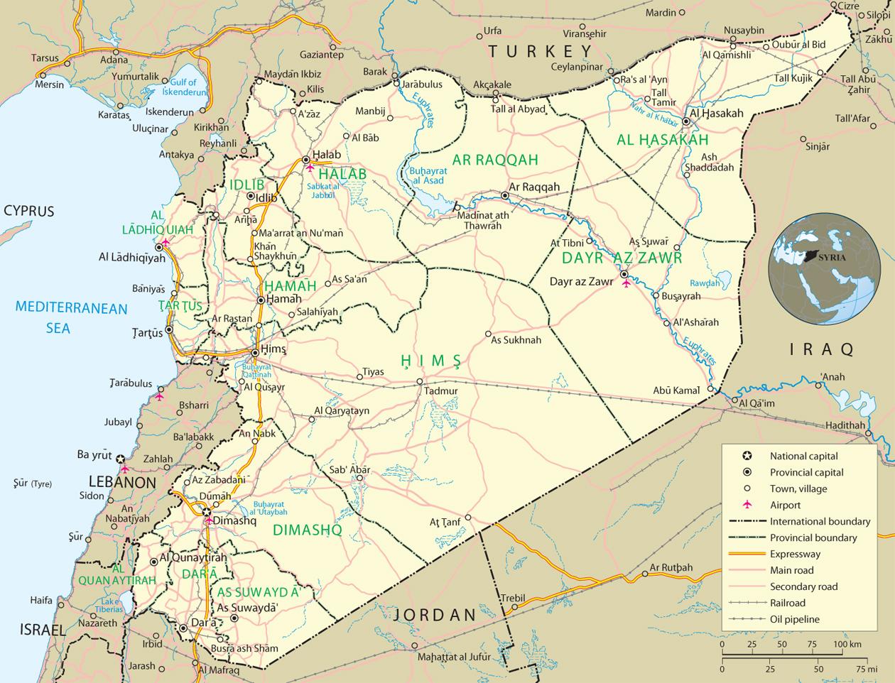 Syria Map, Damascus - Asia