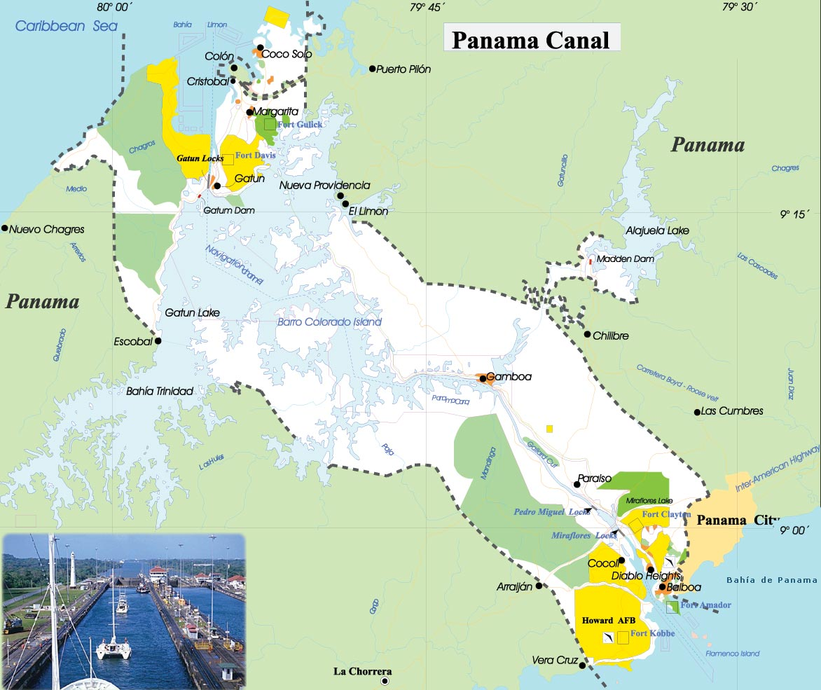 Map Of Panama Canal Map of Panama Canal