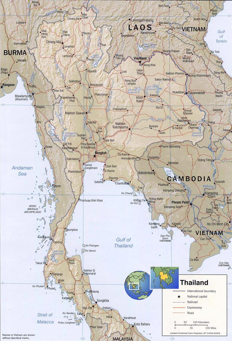 Thailand Map, Bangkok - Asia